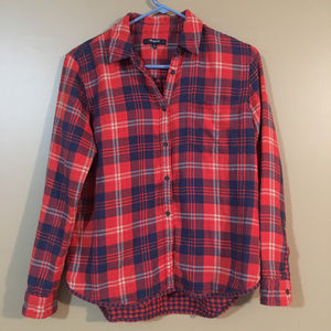 Madewell Flannel Button down Shirt Red Blue Small
